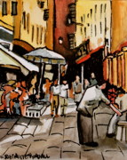 Impressionistic Market Painting Prints - Taking a Stroll Through Downtown Print by Elizabeth Robinette Tyndall