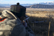 Bridger Teton Framed Prints - Taking Aim During A Bison Hunt Framed Print by Drew Rush