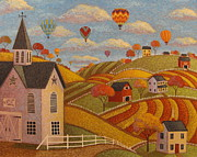 Hot Air Balloon Painting Posters - Taking Flight Poster by Mary Charles