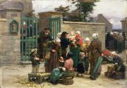 Taking Framed Prints - Taking in Foundlings Framed Print by Leon Augustin Lhermitte