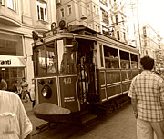 Old Tram Framed Prints - Taksim Old Tram Istanbul Framed Print by Georgeta  Blanaru