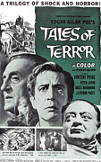 1960s Movies Posters - Tales Of Terror, L-r Basil Rathbone Poster by Everett