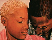African American Artist Pastels - Talk To Me Baby II by Curtis James