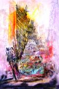 Twin Towers Trade Center Pastels Metal Prints - Talk to Me Metal Print by Milada Kessling