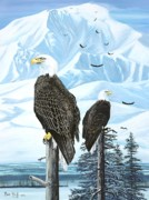 Mckinley Painting Prints - Talkeetna Eagles Print by Bob Patterson