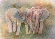 Elephant Prints - Talking It Over Print by Arline Wagner