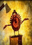 Animal Mixed Media Metal Prints - Talking Turkey In A Pilgrim Hat Metal Print by Bob Orsillo