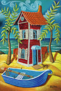 Row Boat Pastels Prints - Tall red house Print by Chris Boone