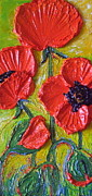 Paris Wyatt Llanso Posters - Tall Red Poppies Poster by Paris Wyatt Llanso