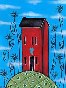 Folk Art Paintings - Tall Saltbox by  Abril Andrade Griffith