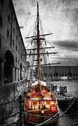 Selective Color Framed Prints - Tall Ship At Liverpool Framed Print by Yhun Suarez