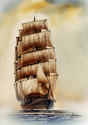 Tall Ship Print Prints - Tall Ship CARRADALE Print by James Williamson