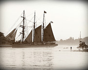 Seacapes Prints - Tall Ship Coming into Portsmouth Print by Debbra Obertanec