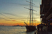 Manhattan Digital Art Originals - Tall ship in Manhattan by Alex AG