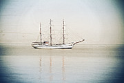 Tall Digital Art Originals - Tall ship on the NY Bay by Alex AG