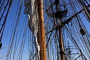 Blue Framed Prints - Tall ship rigging Lady Washington Framed Print by Garry Gay