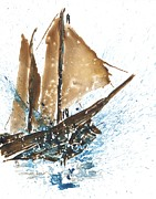 Frigates Painting Prints - Tall Ship XI Print by Janet Whitehead