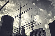 Tall Ships Prints - Tall ships and the skyscrapers - old fashioned Print by Alex AG