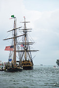 Docked Boats Prints - Tall Ships HMS Bounty and Privateer Lynx at Peanut Island Florida Print by Michelle Wiarda