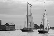 Tall Ships Framed Prints - Tall Ships Sailing II in black and white Framed Print by Suzanne Gaff