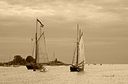 Tall Ships Sailing In Sepia Print by Suzanne Gaff