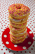 Tall Stack Of Donuts Print by Garry Gay