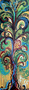 Yellow Ochre Prints - Tall Tree Winding Print by Genevieve Esson