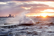 Building Feature Metal Prints - Tallinn Coastline And Stormy Seas Metal Print by Jaak Nilson