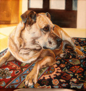 Boxer Paintings - Tally in Winter Sun by Peggy Selander