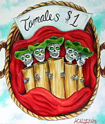 Chile Painting Framed Prints - Tamales One Dollar Framed Print by Heather Calderon