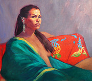 Roz Mcquillan Prints - Tamara in the Green Kimono Print by Roz McQuillan