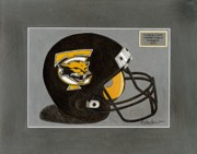 Football Paintings - Tamarac Cougars Football Helmet by Herb Strobino