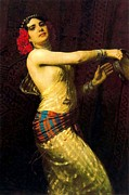 Dancer Paintings - Tambourine  Dancer by Pg Reproductions