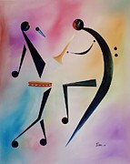 Performance Painting Framed Prints - Tambourine Jam Framed Print by Ikahl Beckford