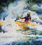 White Water Kayaking Print Paintings - Taming Of The Chute by Hanne Lore Koehler
