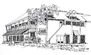 Restaurant Drawings Prints - Tampa Florida Bellas Restaurant Print by Robert Birkenes