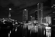 Tampa Posters - Tampa Skyline West Night Black and White Poster by Larry Underwood