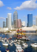 Tampa Skyline Posters - Tampas Flag Ship Poster by David Lee Thompson