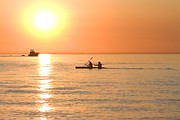 Pleasure Pair Prints - Tandem kayakers at sunset Print by Purcell Pictures