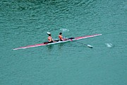Spandex Framed Prints - Tandem Ladies Rowing Framed Print by Rene Triay