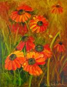 Etc. Paintings - Tangerine Cone Flowers by Brandi  Hickman
