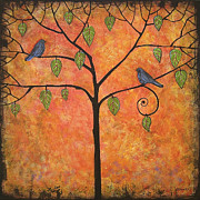 Bluebird Painting Metal Prints - Tangerine Sky Metal Print by Blenda Studio