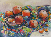 Still Life With Tangerines Prints - Tangerines Print by Juliya Zhukova