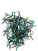 Frustration Posters - Tangled Christmas lights Poster by Marlene Ford