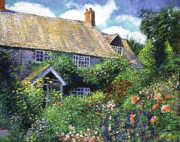English Cottages Prints - Tangled English Garden Print by David Lloyd Glover