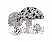 Patterns Drawings Prints - Tangled Mushrooms Print by Paula Dickerhoff