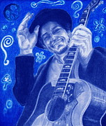 Gibson Guitar Drawings Posters - Tangled up in Blue Poster by Kathleen Kelly Thompson