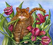 Feline Drawings Posters - Tango in the Tulips Poster by Mindy Lighthipe