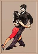 Dance Mixed Media Posters - Tango Poster by Linda  Parker