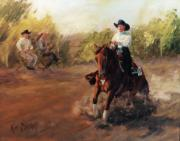 Reiner Paintings - Tango Reining Horse Slide Stop Portrait Painting by Kim Corpany